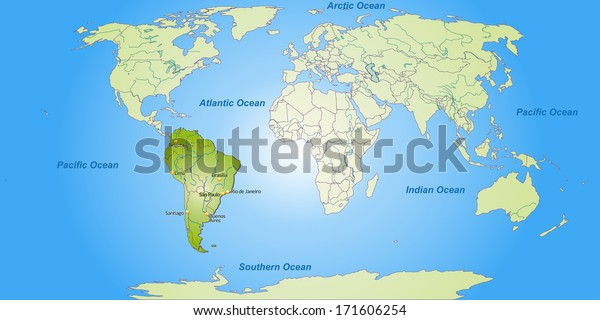 Map Of America With Cities.Map South America Main Cities Green Stock Illustration 171606254