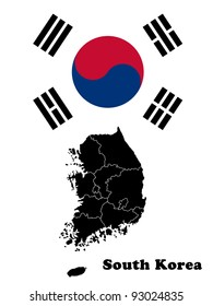 Map of South Korea against the background of the flag