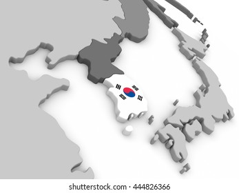 Map of South Korea with embedded national flag. 3D illustration