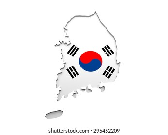 The map of South Korea isolated on a white background - 3D Illustration