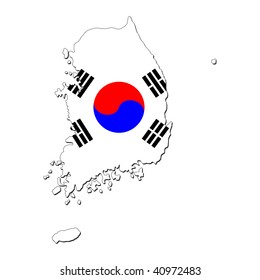 map of South Korea and their flag illustration JPEG
