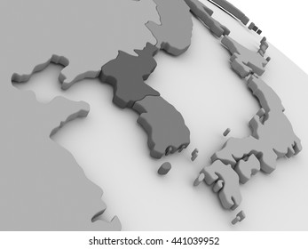 Map of South Korean and North Korea on grey model of Earth. 3D illustration