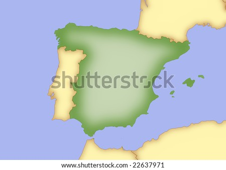 Map Spain Borders Surrounding Countries Stock Illustration - Royalty ...