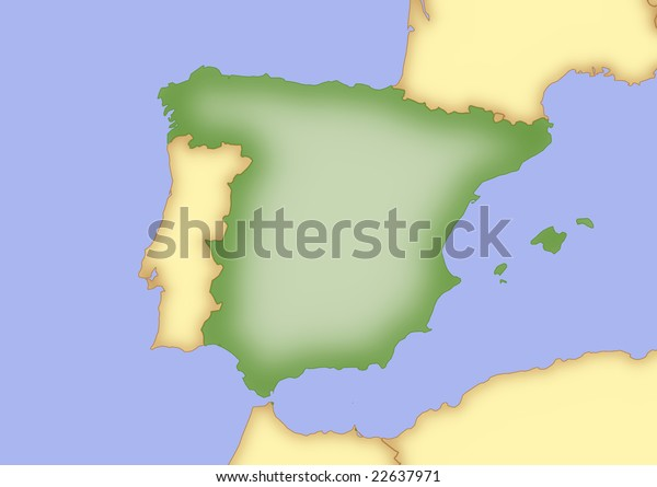 Map Of Spain And Surrounding Countries.Map Spain Borders Surrounding Countries Stock Illustration 22637971