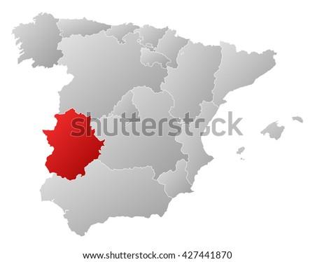 Map Of Spain Extremadura.Map Spain Extremadura Stock Illustration 427441870 Shutterstock