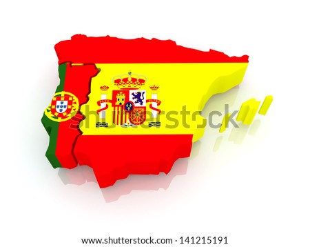 Royalty Free Stock Illustration Of Map Spain Portugal 3 D Stock
