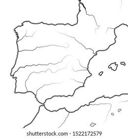 Map of The SPANISH Lands: Spain, Portugal, Iberia, Galicia, Catalonia, Valencia, Andalusia, León, Aragón & Castilla, Navarra, Asturias, Basque Pays, The Pyrénées. Geographic chart with coastline.