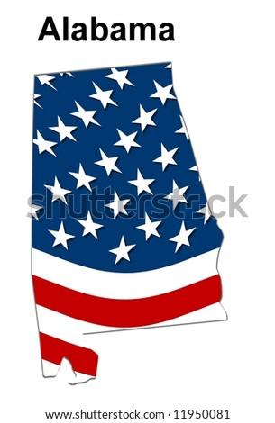 Map State Alabama American Flag Stock Illustration 11950081 ...