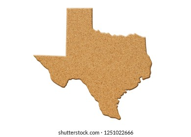 Map of the state of Texas United States of America made of cork material isolated on white 3D Illustration