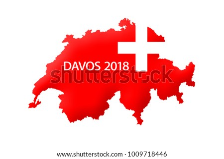 Map Switzerland Red Davos 2018 Wording Stock Illustration - Royalty ...