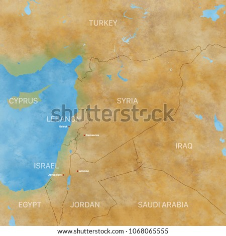 Middle East Map Arabian Peninsula.Map Syria Borders Physical Map Middle Stock Illustration 1068065555