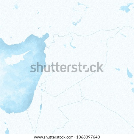 Mediterranean Political Map.Map Syria Borders Political Map Middle Stock Illustration 1068397640