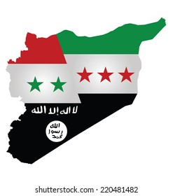 Map of Syria showing the three warring factions dividing the county translation on flag reads there is no God but God Mohammed is his messenger