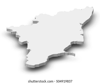 Map - Tamil Nadu (India) - 3D-Illustration