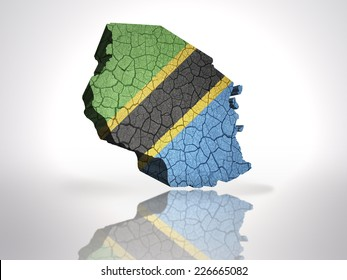 Map of tanzania with tanzanian Flag on a white background