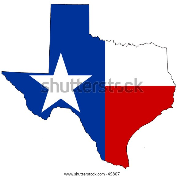 Map of texas, filled with its flag