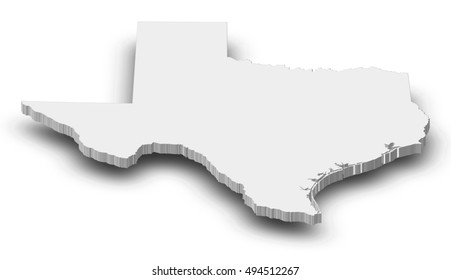 Map - Texas (United States) - 3D-Illustration
