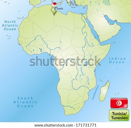 Royalty Free Stock Illustration of Map Tunisia Main Cities Green ...