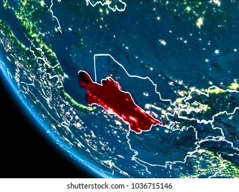 Map of Turkmenistan in red as seen from space on planet Earth at night with white borderlines and city lights. 3D illustration. Elements of this image furnished by NASA.