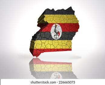 Map of uganda with ugandan Flag on a white background
