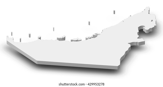 Map - United Arab Emirates - 3D-Illustration