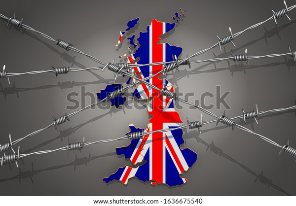 Map of the United Kingdom with barbed wire, 3D rendering on grey background