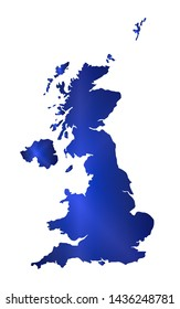 Map of The United Kingdom in blue silhouette over a white background