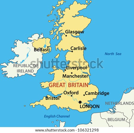 Britain And Ireland Map.Map United Kingdom Great Britain Northern Stock Illustration