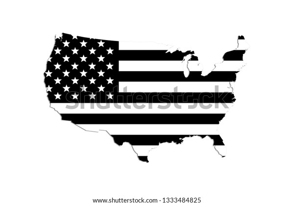 Map United States America Black White Stock Illustration ...