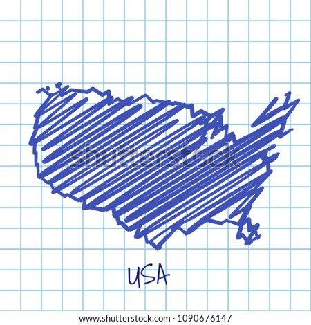Map United States Blue Sketch Abstract Stock Illustration 1090676147 ...
