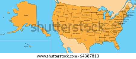 Map United States Including Alaska Hawaii Stockillustration 64387813 ...