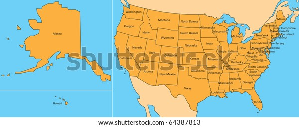 Map United States Including Alaska Hawaii Stockillustration ...