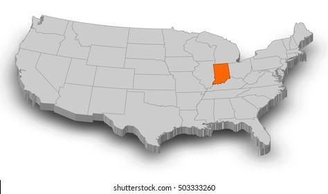 Map - United States, Indiana - 3D-Illustration