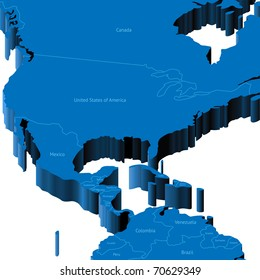 Map of United States with national borders and country names. Raster version. Vector version is also available.