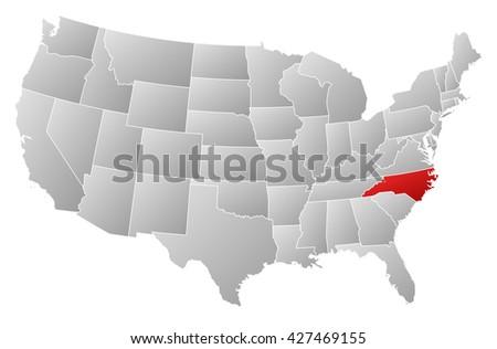 United States Map North Carolina.Map United States North Carolina Stock Illustration 427469155