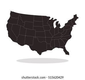 Map Of The United States By Regions.Map United States Regions Stock Illustration 515620435 Shutterstock