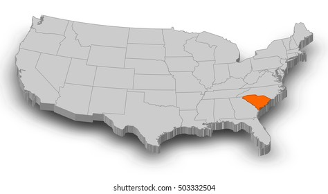 Map - United States, South Carolina - 3D-Illustration