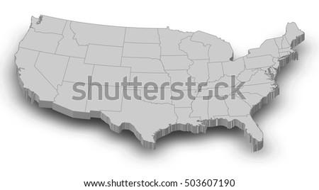 Map United States Washington DC 3 D Illustration Stock Illustration ...