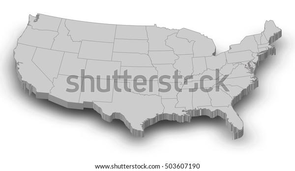 Map United States Washington Dc 3dillustration Stock Illustration ...