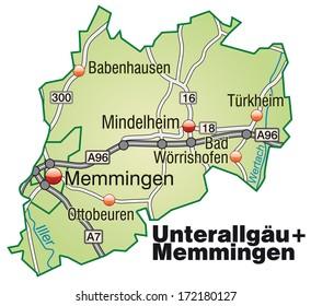 Map Of Germany Memmingen.Map Unterallgaeu Memmingen Highways Stock Illustration 170730548