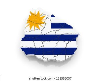 Map of Uruguay. 3d