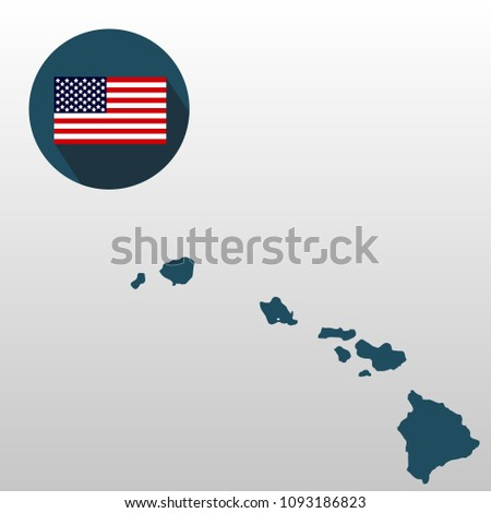 Map Us State Hawaii On White Stock Illustration 1093186823