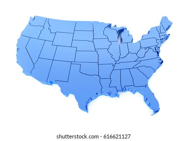 Map of USA. 3D Illustration