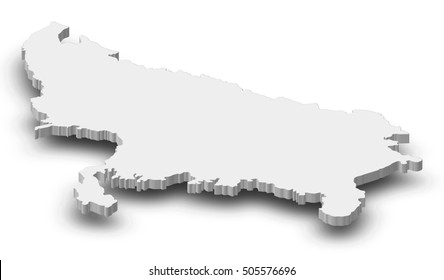 Map - Uttar Pradesh (India) - 3D-Illustration