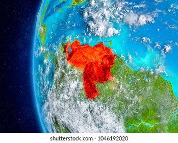 Map of Venezuela as seen from space on planet Earth with clouds and atmosphere. 3D illustration. Elements of this image furnished by NASA.