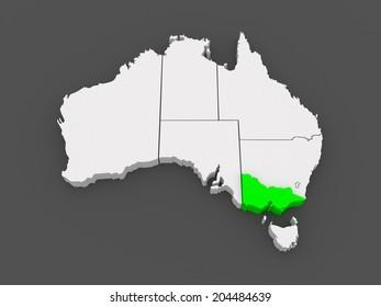Map of Victoria. Australia. 3d