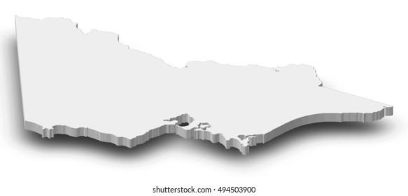 Map - Victoria (Australia) - 3D-Illustration
