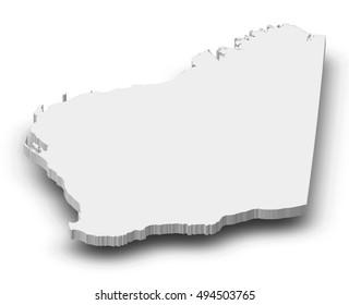 Map - Western Australia (Australia) - 3D-Illustration