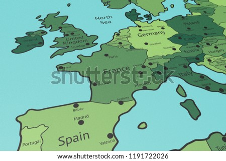 Map Of Western France.Map Western Europe France Focus Perspective Stock Illustration