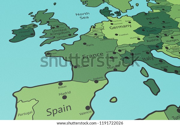 Map Of Europe France.Map Western Europe France Focus Perspective Stock Illustration